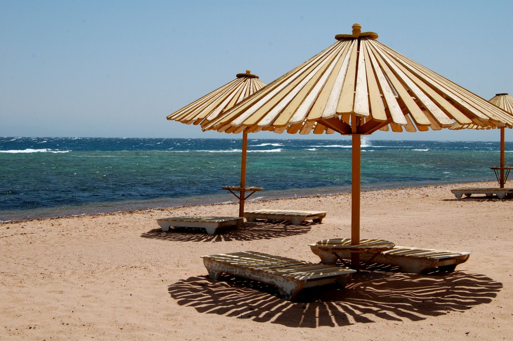 Beach and chairs in Dahab, Egypt