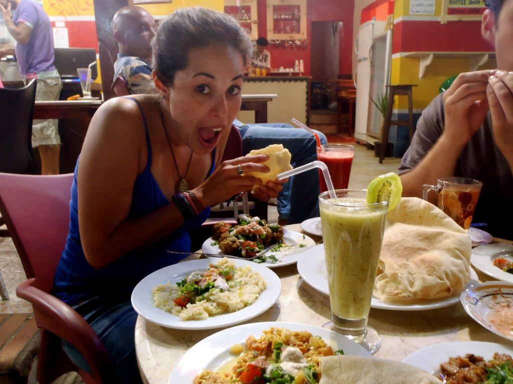 Eating at Yum Yum in Dahab, Egypt