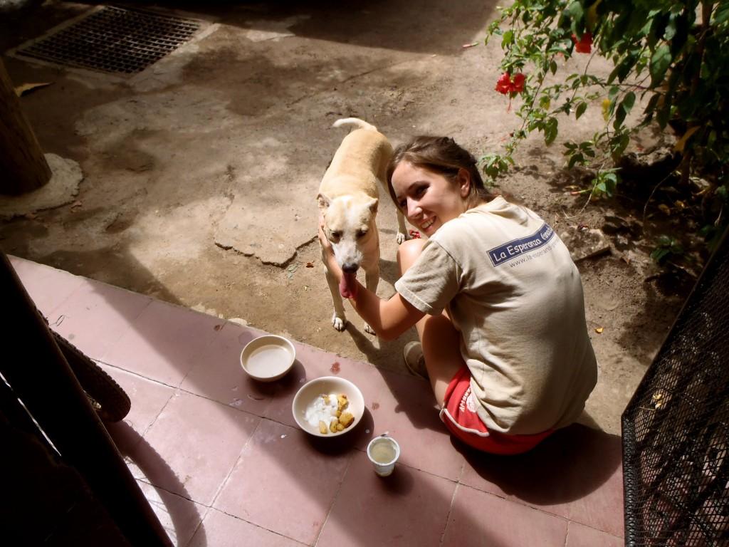 Dog and girl in Granada, Nicaragua