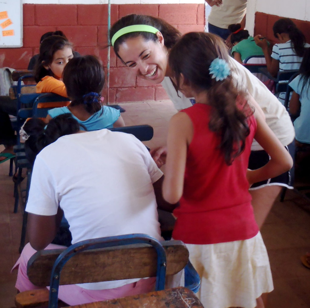 Teaching Nicaraguan students English.