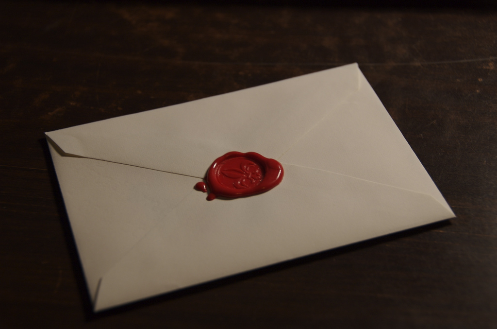 Envelope sealed with wax
