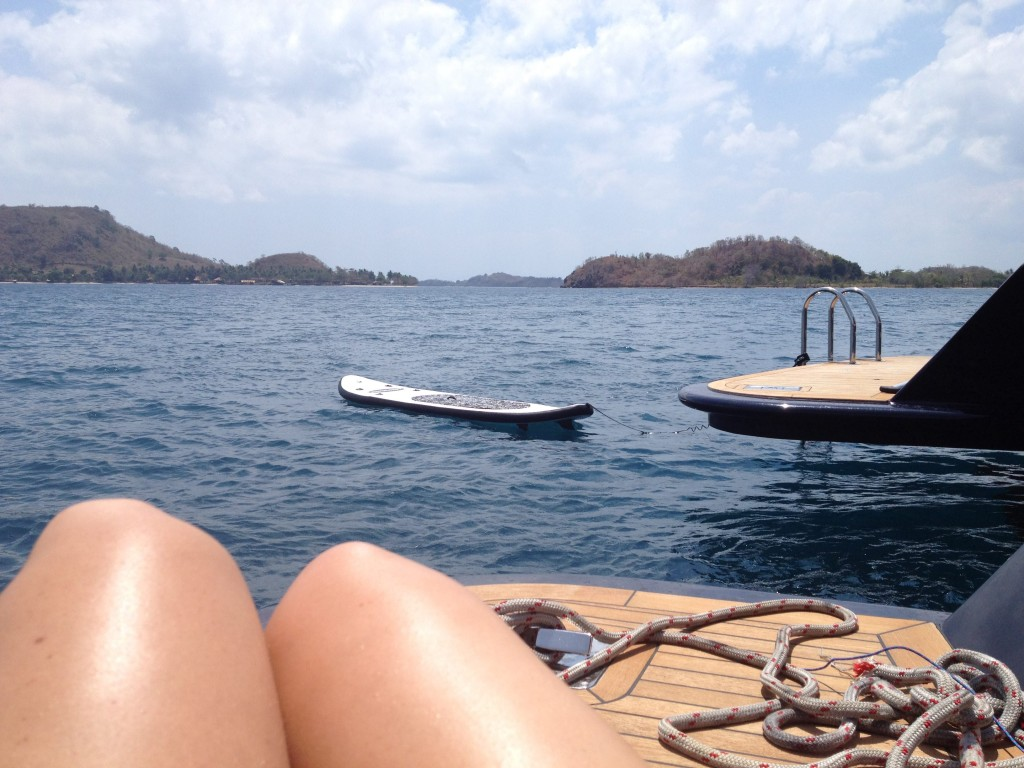 Relaxing off the back deck while E naps in Lombok, Indonesia