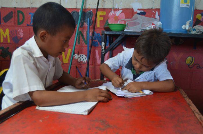 First grade boys hard at work.