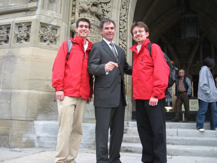 Tour guides posing with Canadian Minister of Aboriginal Affairs in Ottowa. (Ian is on the left.)