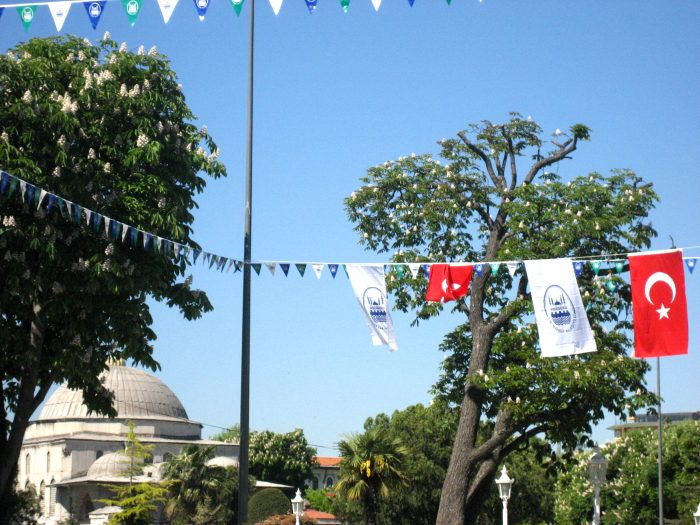 Turkish flags + mosque.