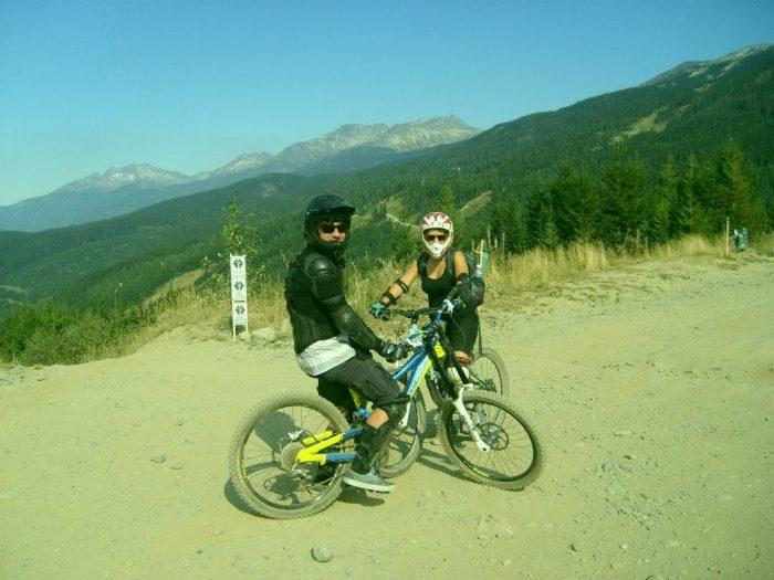 Downhill mountain biking.