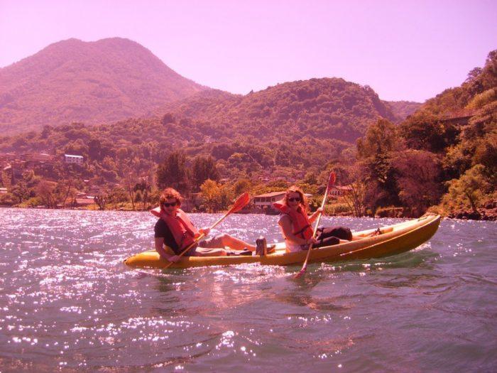 Kayaking on Lake Atitlan, Guatemala.