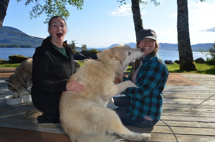 Maggie, Elisabeth, and Kenai in Ketchikan.