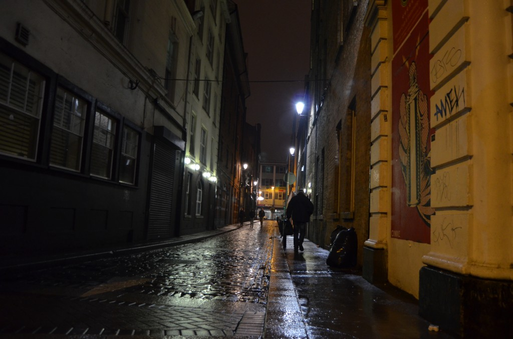 Rainy alley in Dublin