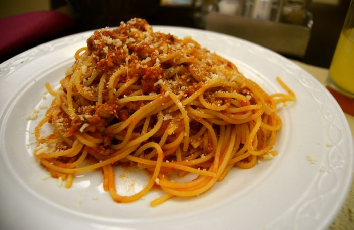 Spaghetti bolognese, I eat it every day. (It's a song. Ask my 5th grade music class if you don't believe me.)