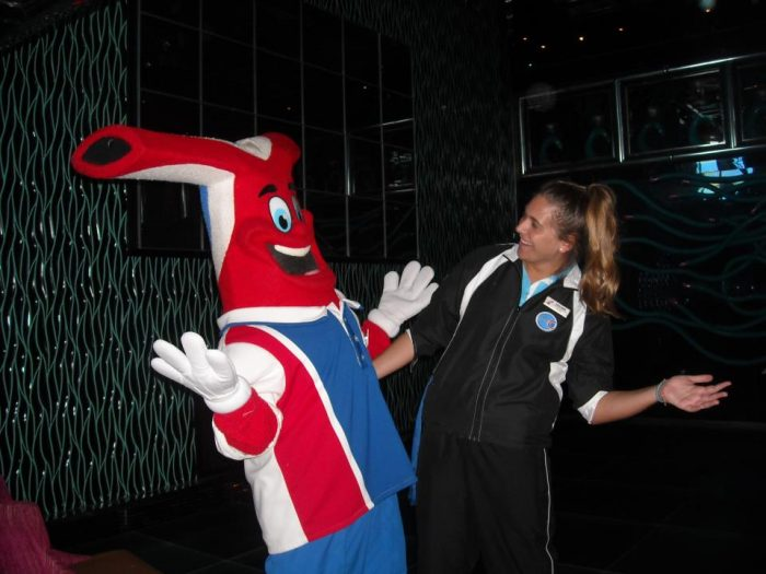 Hanging with Funship Freddy on Carnival Cruise Lines.