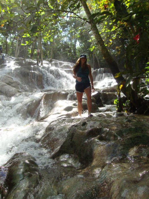 Hiking Dunns River Falls in Jamaica.