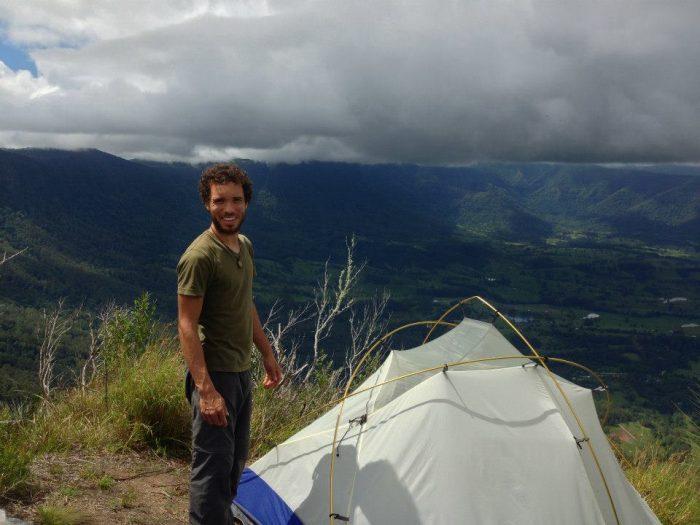 Camping on cliff edge, Border Ranges Australia
