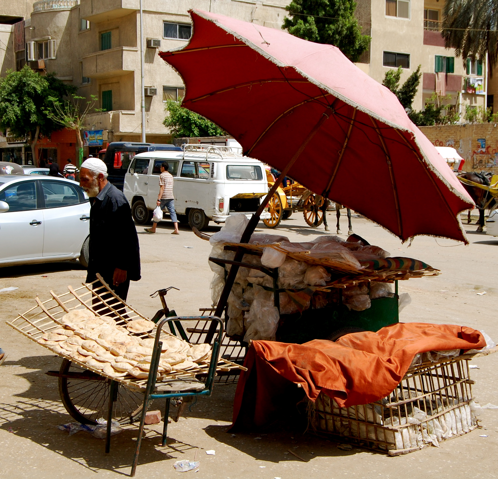 Egyptian vendor selling bread