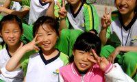 Cute 3rd grade girls on Sports Day.