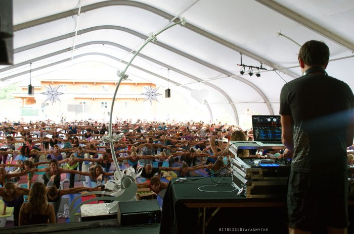 Ian DJs on the last day of Wanderlust yoga festival in Aspen, CO.